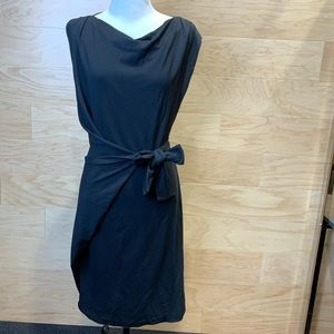 DVF Black midi dress with tie - sz 6